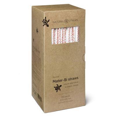 Natural Straws Mater-Bi rietjes ingepakt (21 x 0,6 cm) - 250 stuks