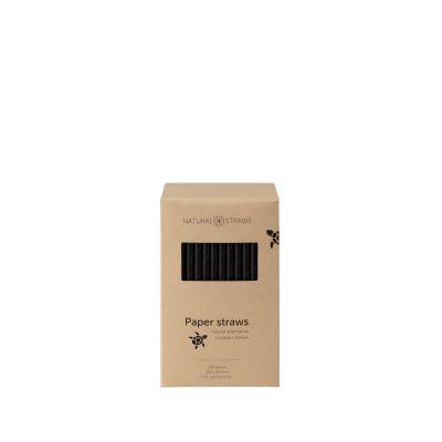 Natural Straws papieren rietjes zwart (20 x 0,8 cm) - 250 stuks