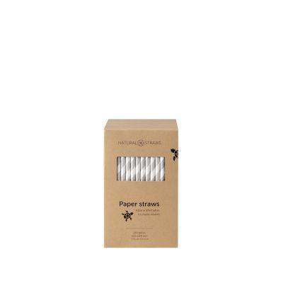 Natural Straws papieren rietjes grijs/wit (20 x 0,8 cm) - 250 stuks