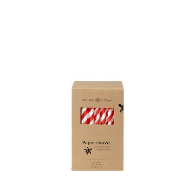 Natural Straws papieren rietjes rood/wit (20 x 0,8 cm) - 250 stuks