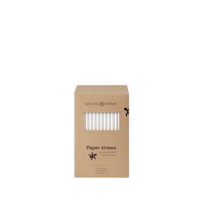 Natural Straws papieren rietjes wit (20 x 0,8 cm) - 250 stuks