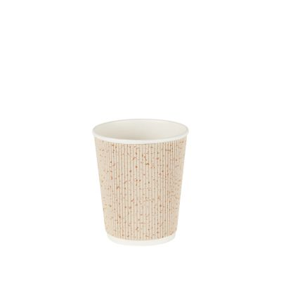 Natural Cups Ripple cup Beige/Goud (8oz/240ml) - 25 stuks