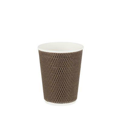 Natural Cups Ripple cup Zwart/Bruin (12oz/360ml) - 25 stuks