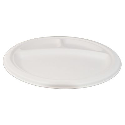 Purebagasse 3 compartment plate (26cm) - 50 pcs