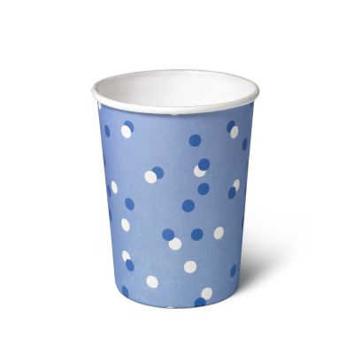 Natural Cups Celebration Blue papieren beker (240 ml) - 25 stuks