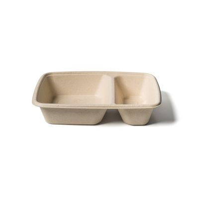 Natural Ware Bagasse rectangular tray 2-comp.(550/250ml) - 75 pcs