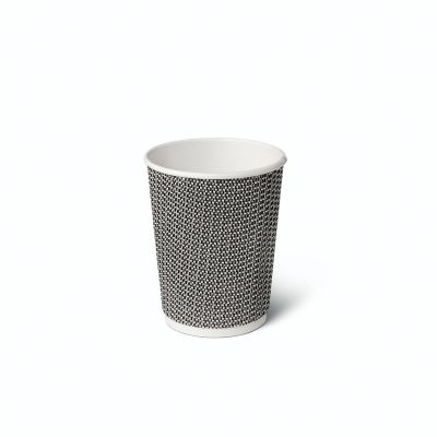 Natural Cups Ripple cup Black/White (8oz/240ml) - 25 pcs