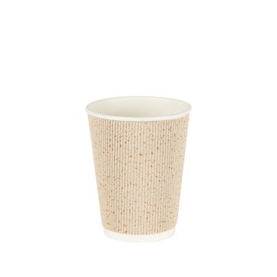 Natural Cups Ripple cup Beige/Goud (12oz/360ml) - 25 stuks