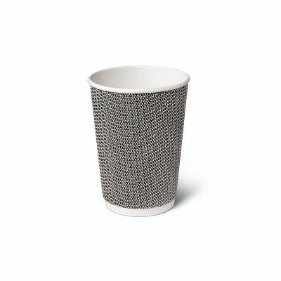 Natural Cups Ripple cup Black/White (12oz/360ml) - 25 pcs